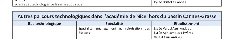 Parcours technologiques du bassin et de l'académie de Nice
